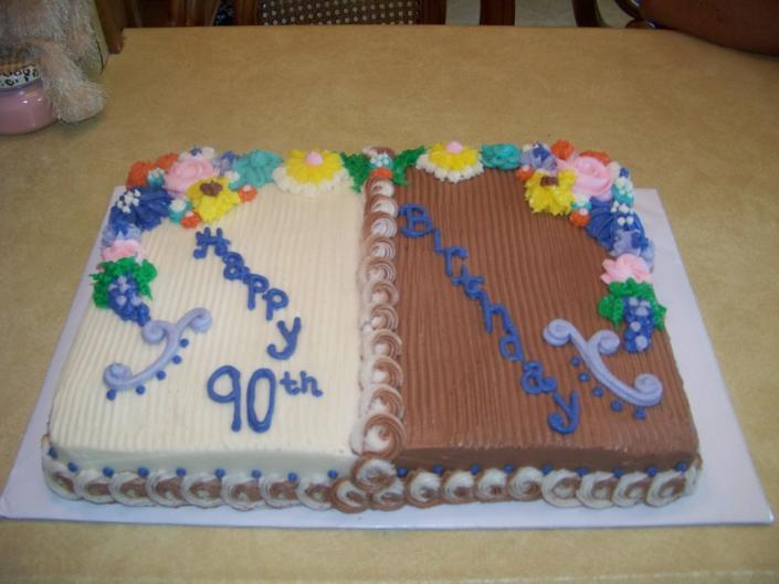 Happy 90th Birthday Image A Half Divided Cake Delicious White With Almond Buttercream And