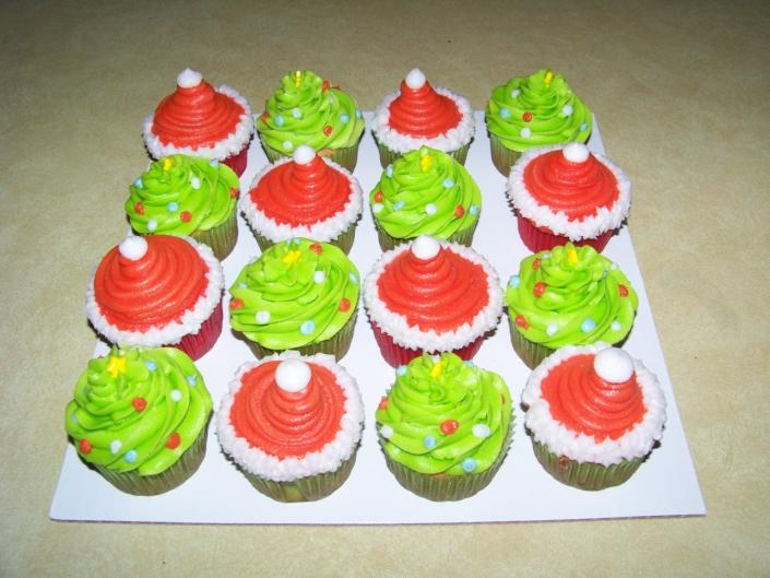 [Image: Its Christmas time with these cute cupcakes. Santa Hat and a Christmas trees.]